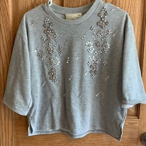 Embellished sweatshirt top